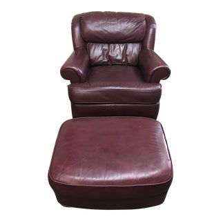 Whittemore-Sherrill Ltd. Leather Arm Chair & Ottoman