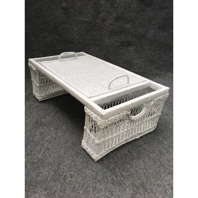 Vintage White Wicker Bed Tray