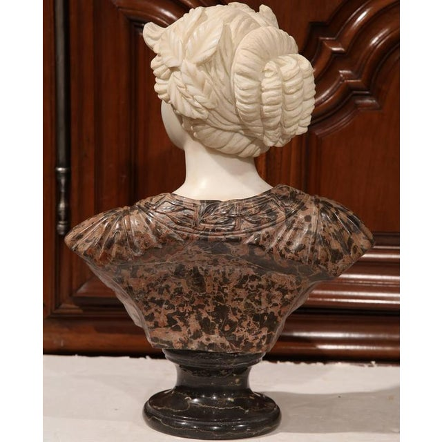 Large 19th Century Italian Carved Marble Bust of Young Lady by Goose - Image 7 of 7