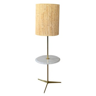 Mid Century Laurel Floor Lamp in Brass and Marble
