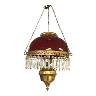 Vintage Ruby Glass and Crystal Chandelier