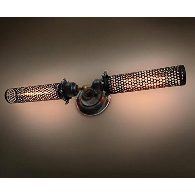 Industrial Double Head Metal Mesh Wall Sconce - Image 3 of 4