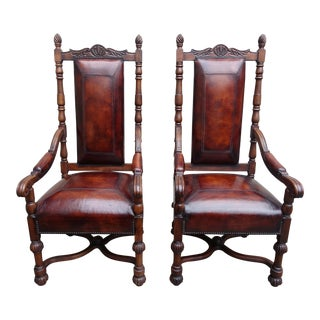 Leather Walnut Armchairs - a Pair