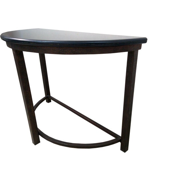 Image of Semicircle Metal Console Table With Marble Top