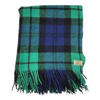 Vintage Foxford Blackwatch Tartan Wool Blanket