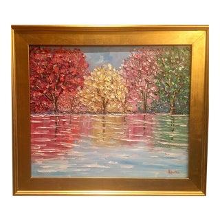 """Abstract Trees Landscape Impasto"" Original Oil Painting by Sarah Kadlic"