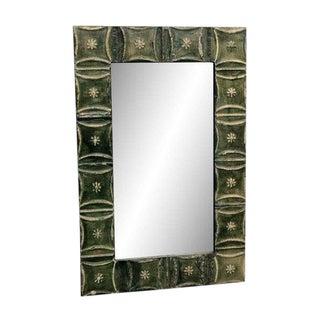 Snowflake Pattern Green Tin Panel Mirror