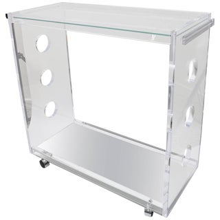 Customizable Rectangular Shaped Bespoke Bar Cart in Lucite and Mirror by Alexander Millen