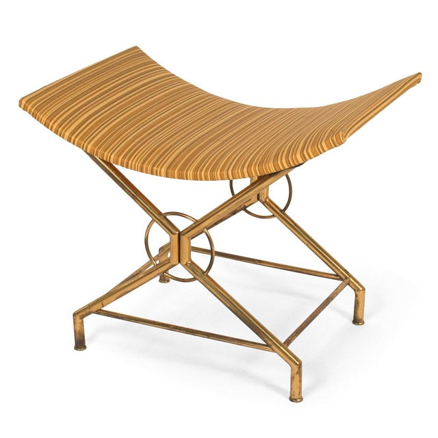 Fine Italian Brass X Base Bench After Gio Ponti Decaso