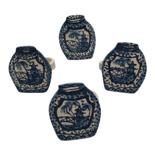 Ceramic Blue Pagoda Jar Napkin Rings - Set of 4