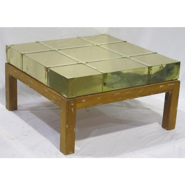 Vintage Sarreid LTD Brass Cocktail Table - Image 3 of 5