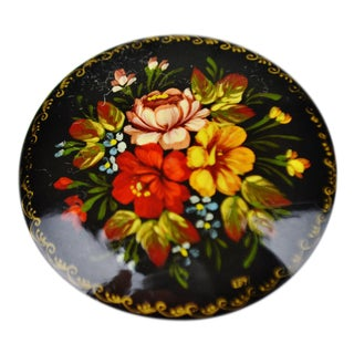 Vintage Hand Painted Floral Black Lacquered Brooch