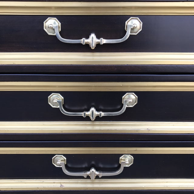 Widdicomb Brass Trim Nightstands - a Pair - Image 7 of 11