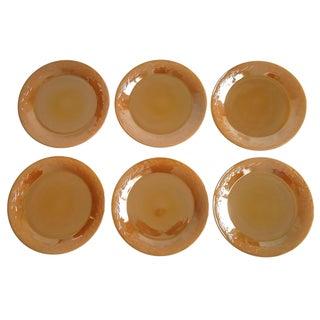"Vintage Fire-King Peach Lustre Plates 11"" Set of 6"