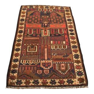 "Vintage Persian Baluchi Area Rug - 2'11""x4'8"""