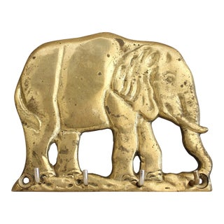 Vintage Brass Elephant Key Hooks Wall Hooks