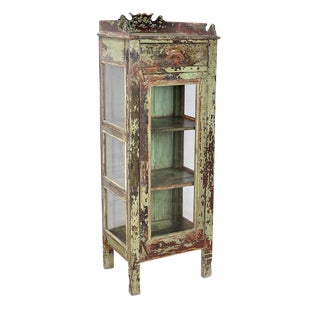Antique Carved Wood Display Cabinet