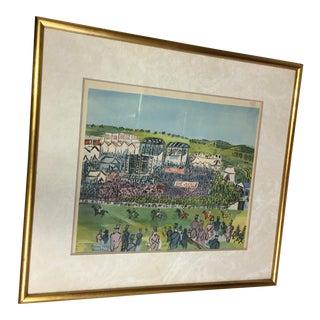 Raoul Dufy Vintage 1930's Epsom Horse Races Silkscreen