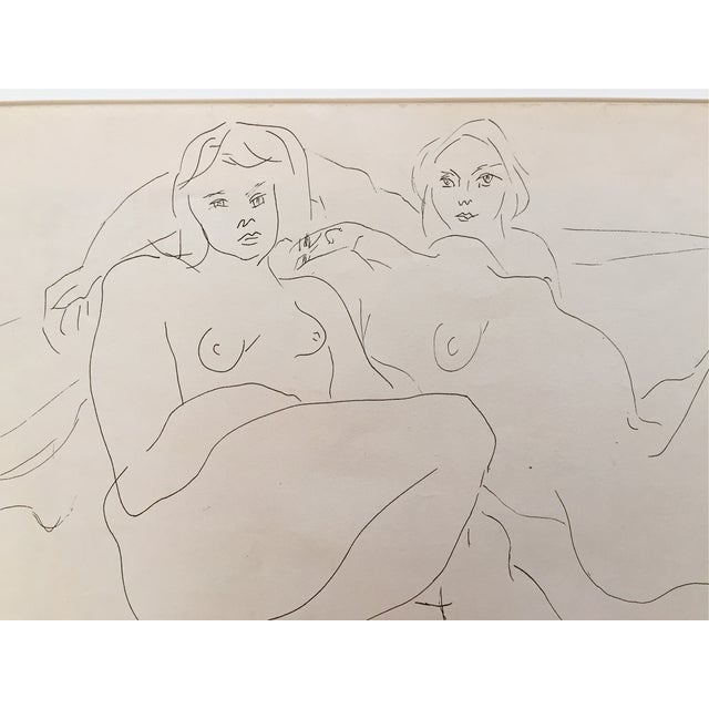 Image of Vintage 1952 Reclining Nudes Pen & Ink Drawing