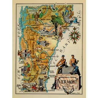 Vintage Vermont Pictorial Map, 1946