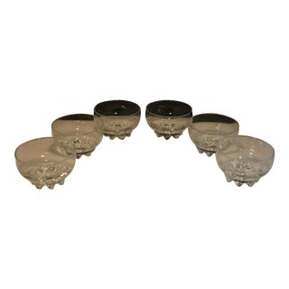 Set of 6 Footed Hand Crafted Italian Clear Glass Contemporary Dessert Bowls