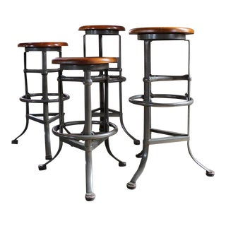 "Set of Four ""Rite Hite"" Automatic Adjustable Vintage Industrial Bar Stools"
