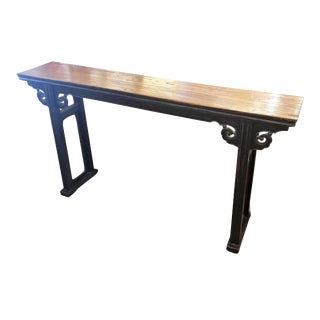Asian Wood Top Console Table