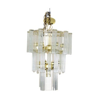 Vintage Tiered Brass & Glass 11-Light Chandelier