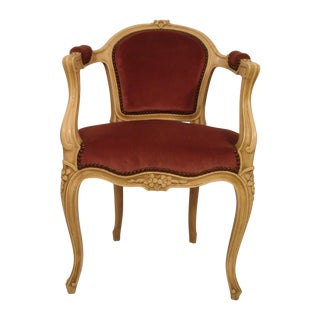 Antique Ivory Louis XV Style Low Back Fauteuil