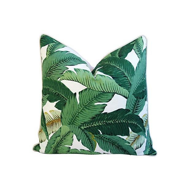 Custom Tropical Iconic Banana Leaf Feather/Down Pillows - a Pair - Image 3 of 7