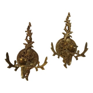 Brass Candle Stick Wall Sconces - A Pair