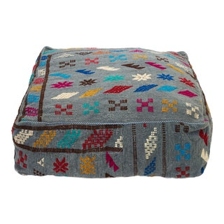 Gray Moroccan Embroidered Wool Pouf