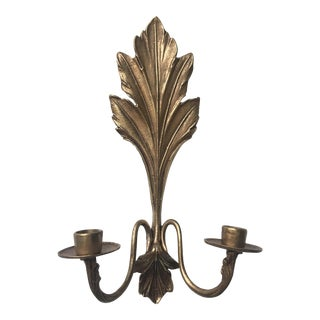 Hollywood Regency Brass Candle Wall Sconce