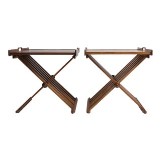 Pair of Walnut Folding Campaign Tray Tables