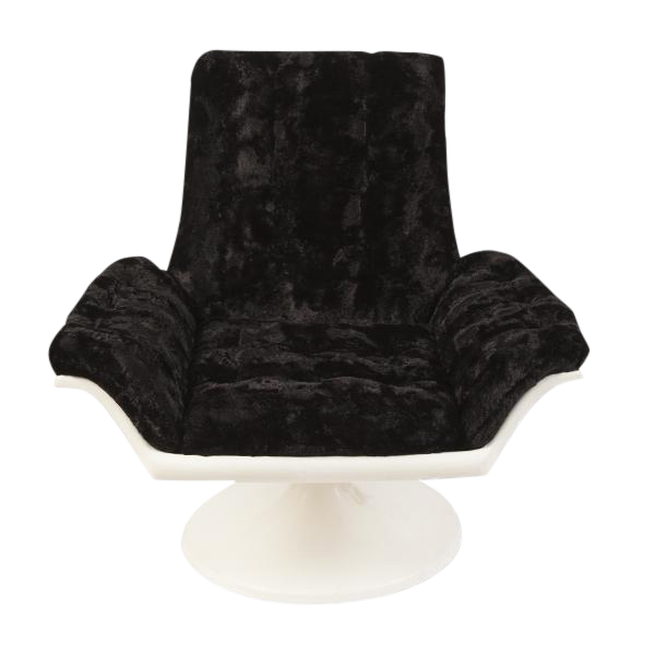 1960s space age swivel chair in faux fur