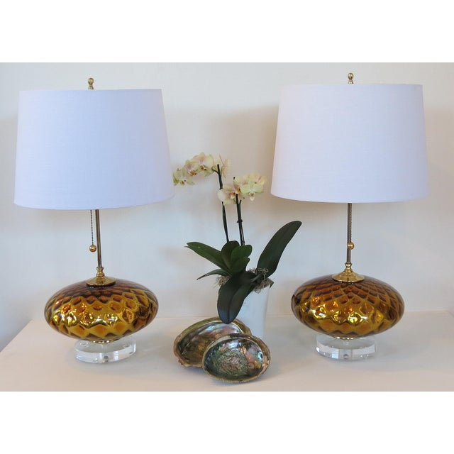 Image of Vintage Gold Mercury Murano Glass Lamps - A Pair