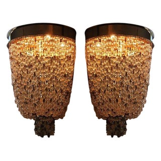 Hand Strung Crystal Sconces - A Pair