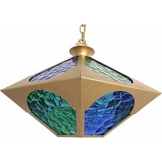 Mid-Century Colored Glass & Brass Pendant
