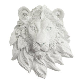Wall Charmers Lion Mini in White Animal Mount Taxidermy Decor