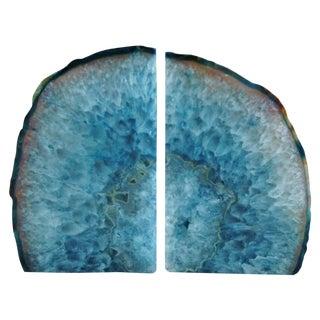 Ocean Blue Polished Crystal Rock Geode Bookends