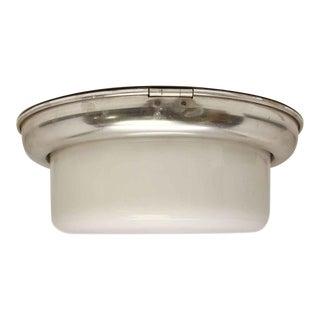 Milk Glass & Nickel Ceiling Flush Mount Fixture