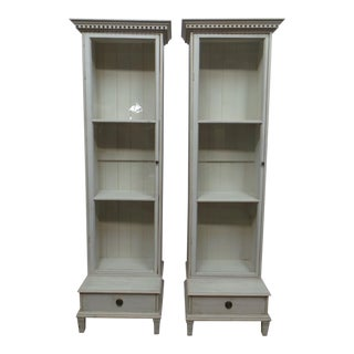 Two Swedish Glass Door Bathroom Display Cabinets