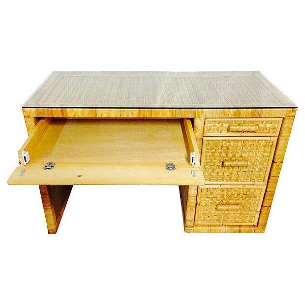 Image of Vintage Palm Beach Style Wicker & Rattan Desk
