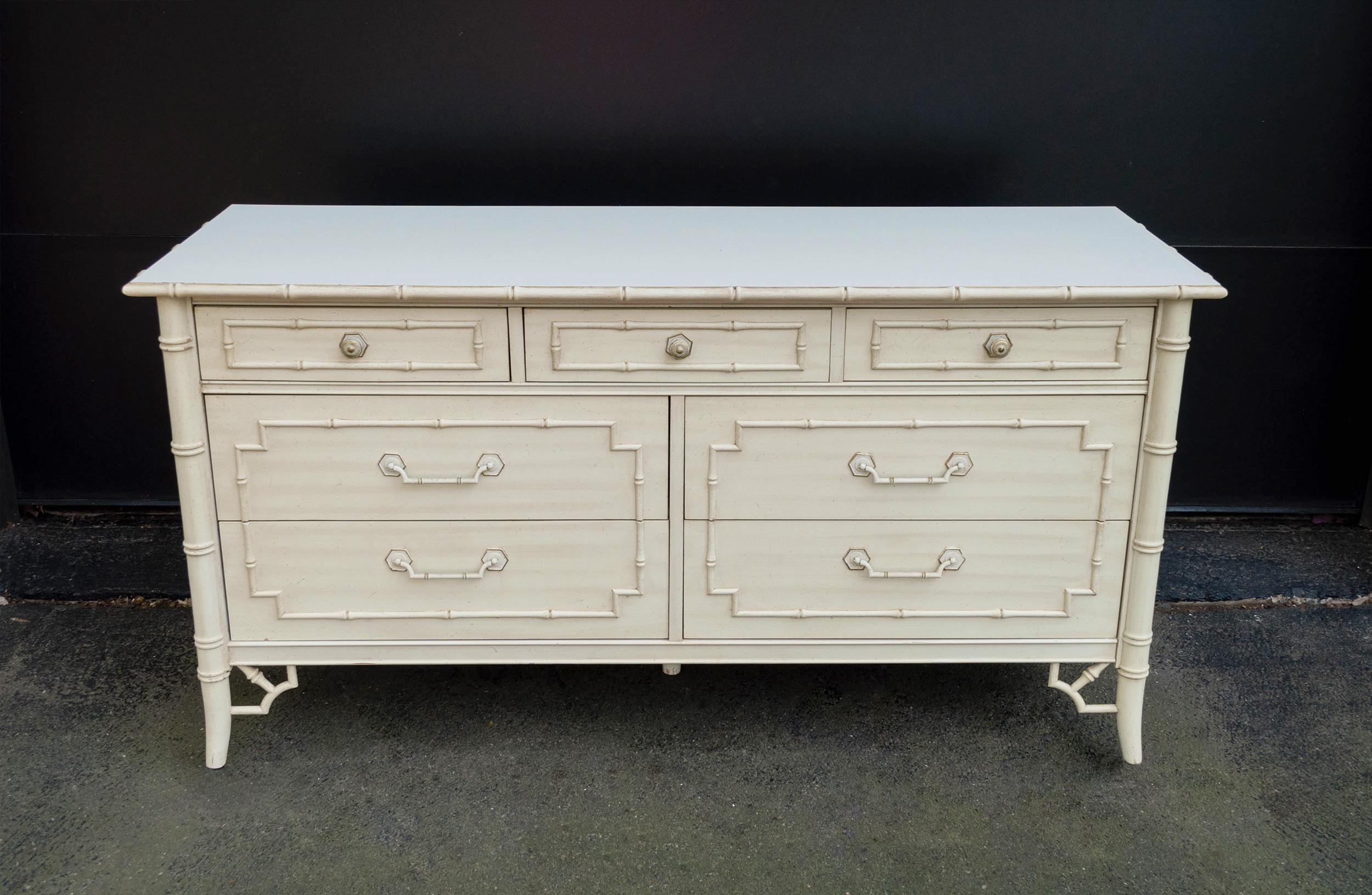 Vintage Thomasville Faux Bamboo Dresser   Image 2 Of 10