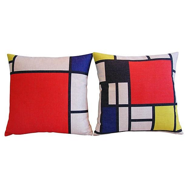 Image of Piet Mondrian Abstract Art Pillows - A Pair