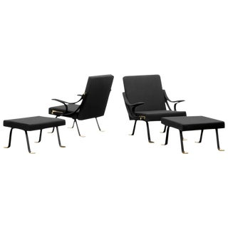 Pair of Digamma Arm Chairs with ottomans/ Edition Gavina 1957_SALE PRICE $38,000