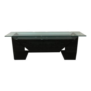 Large Black Lacquer Sideboard with Glass Top