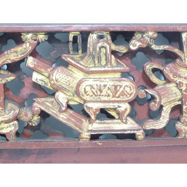 Chinese Carved Wood Panel With Brass Hanger - Image 3 of 6