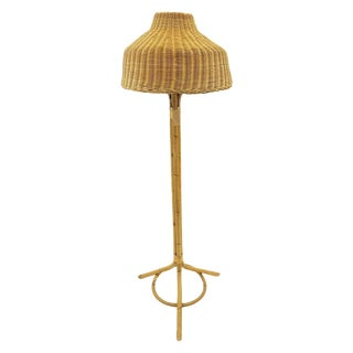 Vintage Woven Wicker & Rattan Floor Lamp