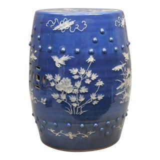Chinese Export Porcelain Blue Ground Garden Seat, Circa 1865.